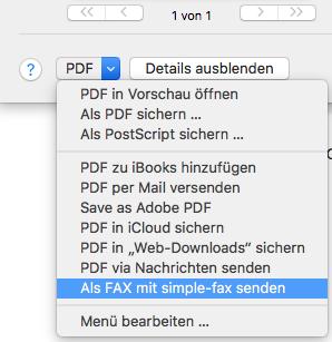 Faxdrucker Mac PDF-Menü