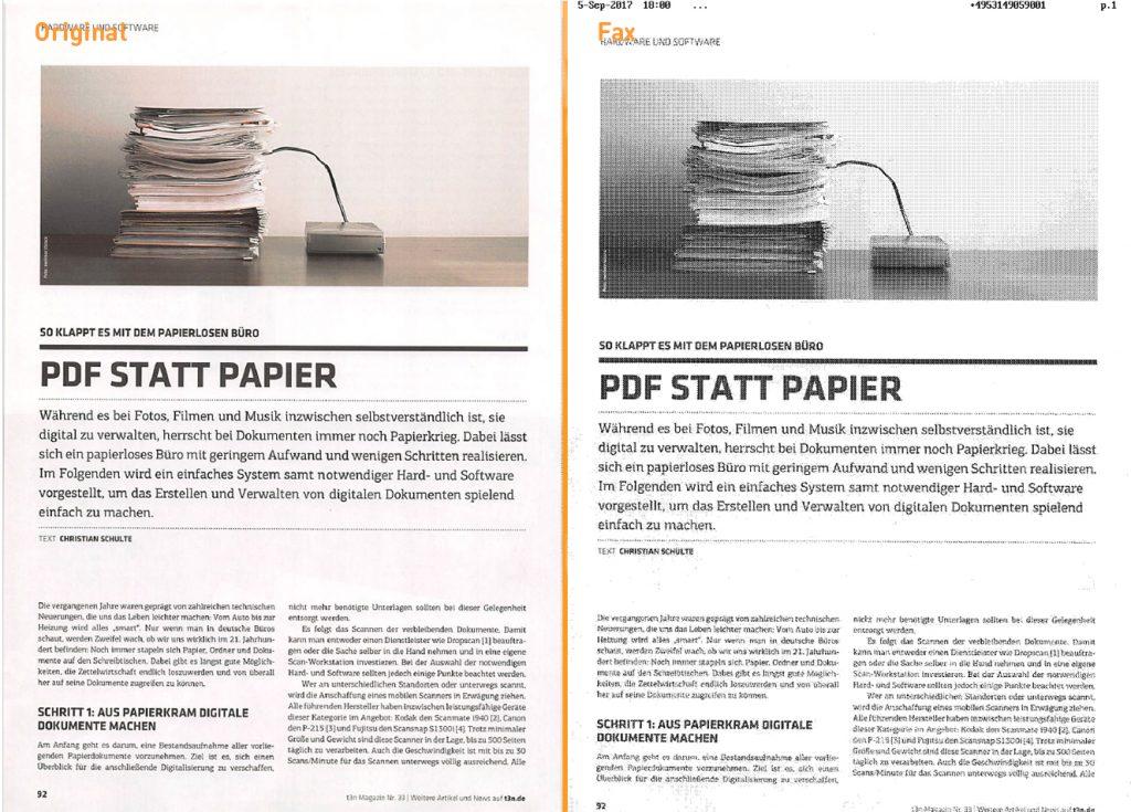 Unterschied zwischen Original und Fax