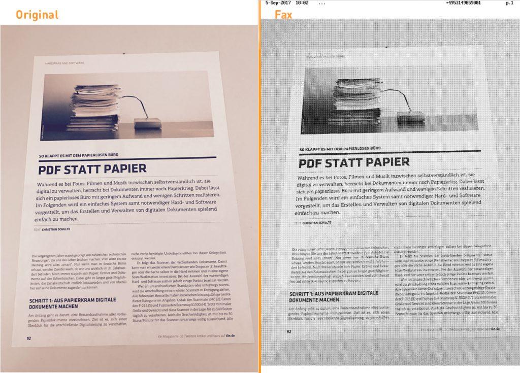 Unterschied Original und Fax