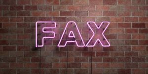 Neonschild mit Schriftzug Fax