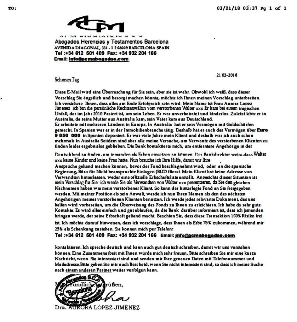 Beispiel Fax Nigeria Connection